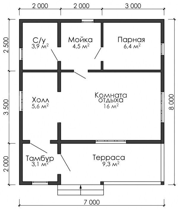 Баня 780 ( 7,0 х 8,0 )